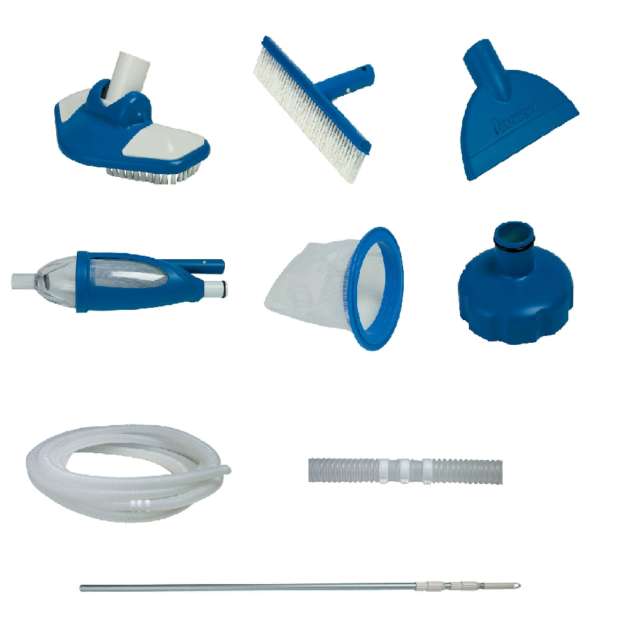Kit di pulizia per fondo piscina fuoriterra asta rete for Kit piscine intex